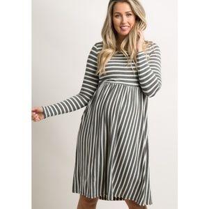 Pinkblush Maternity Striped Long Sleeve Dress